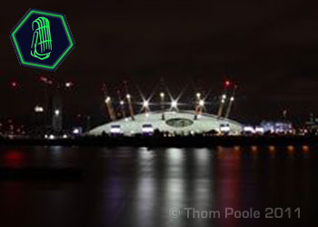 Nighttime view of the O2 Arena